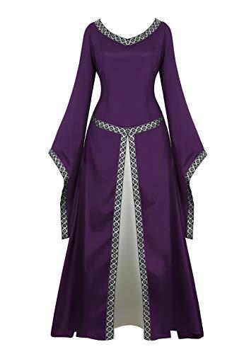 Renaissance Irish Medieval Dress for Women Plus Size Long Dresses Lace up Costumes Retro Gown Purple S -