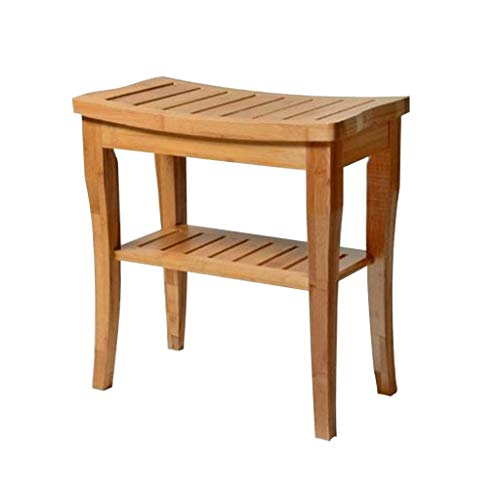 Bathroom Stools Bath Stools Thickened Waterproof Bamboo Solid Wood Shoes Benches European Two-Tiered Stools Shower Room Benches Load 200kg (Color : Wood Color, Size : 48cm46cm25.5cm)