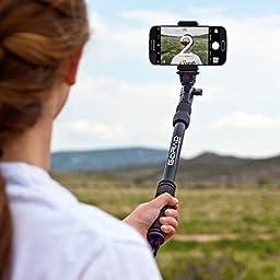 Waterproof Selfie Stick for GoPro Hero Cameras, Smartphones. Sturdy Construction - Designed to Resist Saltwater Corrosion. Aluminum Tripod Mount & Thumb Screw. Includes Phone Mount & Bonus Carry Bag.
