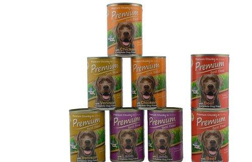 Premium Best Food Perros Comida Húmeda Probemix (Cordero,Pollo,Salvaje), 2 Botes/Tipos + 2x Vacuno extra, total 8 x 0. 41kg Probador, Hecho en Europe