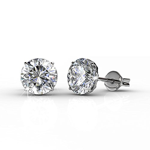 Cate & Chloe Mallory 18k White Gold Stud Solitaire Earrings with Swarovski Crystals, Classic Shiny Round Cut Swarovski Crystals, Wedding Anniversary Fashion Jewelry - Hypoallergenic - MSRP $108 from Cate & Chloe