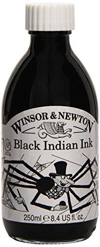 Winsor & Newton 250ml Bottle Water Resistant Drawing Ink - Black Indian