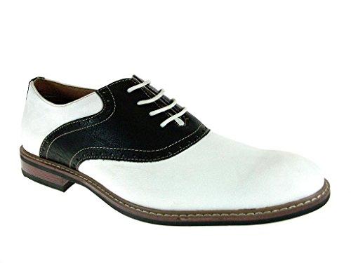 Ferro Aldo Men's 19268A Two Tone Saddle Oxfords, White Black, (Black White Oxford Men)