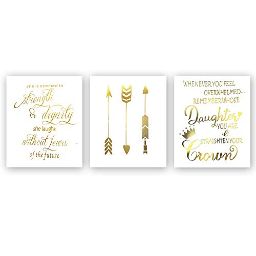 Inspirational Quotes Typography Gold Foil Print, Positive Words Remember Strength Future Cardstock Art Print Motivational Lettering with Arrow Crown Wall Art Poster (8 X 10 inch, Set of 3, Unframed) (Gold Foil Words)