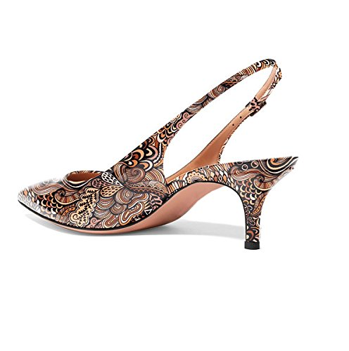Sammitop Women's Pointed Toe Slingback Shoes Kitten Heel Pumps Comfortable Dress Shoes B07DC3MKCZ 11.5 B(M) US|Mixbrown