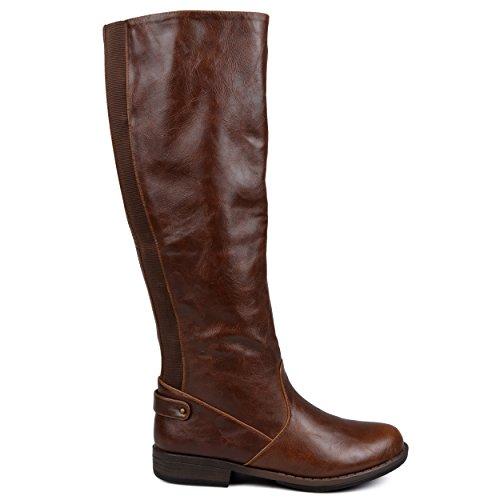 Brinley Co Womens Estes Riding Boot Regular & Wide Calf Brown Wide uiS2Vl42ng