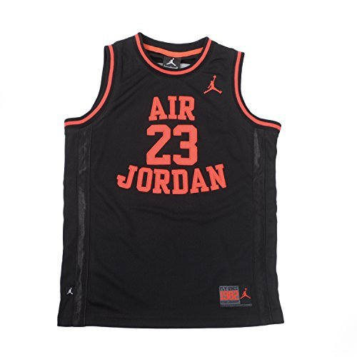 Nike Air Jordan Boys Youth Classic Mesh Jersey Shirt, (10-12 yrs), Black/Red, Size Medium