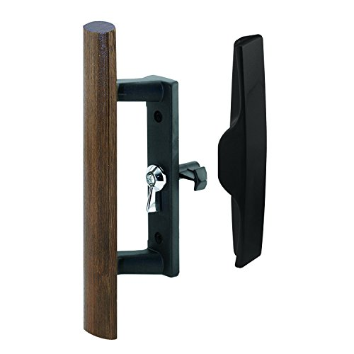 Prime-Line MP1095 Sliding Door Handle, 3-1/2 in, Diecast & Wood, Black, Hook Style, Internal Lock, 1 Set