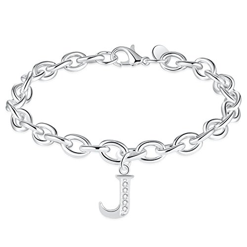 SIBYL Initial Bracelets Letter Alphabet Personalized Charm Bangle for Women Gift ()