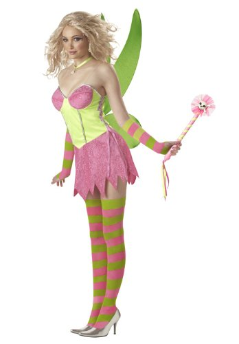 Tinkerbell Fairy (Pink/Green) Adult Costume Size 8-10 Medium (Tinkerbell Costumes For Teens)