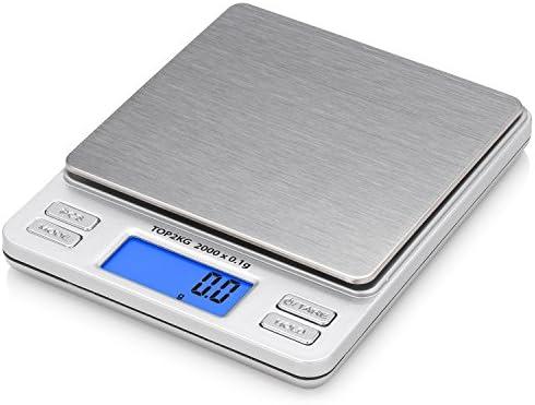 Smart Weigh TOP2KG Báscula Digital Pro Pocket con Pantalla de LCD con luz de fondo, función de bloqueo y capacidad de 2000 x 0.1g