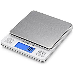 Smart Weigh Digital Pro Pocket Scale with Back-Lit LCD Display, Tare, Hold and PCS Features 2000 x 0.1-Gram Capacity, 2 Lids Included