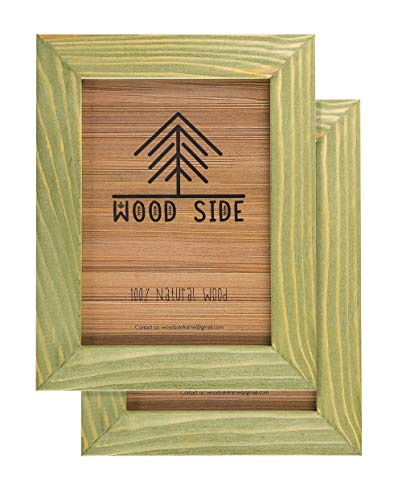 (Rustic Wooden Picture Frame 5x7 Inch - Set of 2-100% Natural Eco Barn Wood with Real Glass - Made for Wall Hanging and Tabletop Display - Olive Green)