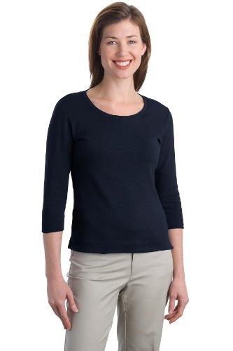 - Port Authority Women's Modern Stretch Cotton 3/4 Sleeve Scoop Neck S True Navy