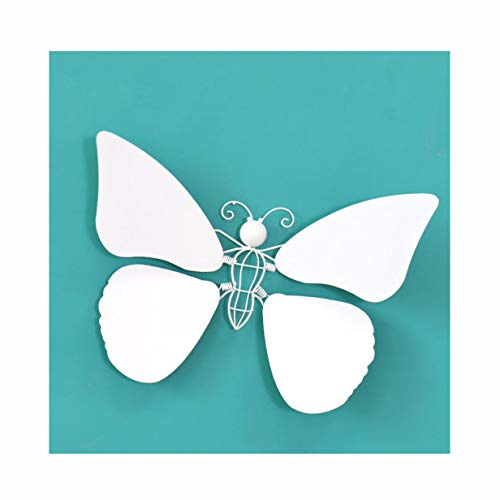 Nordic Wrought Iron Wall Hanging Wall Crafts Decoration in Dragonfly and Butterfly Shape,White,Butterfly