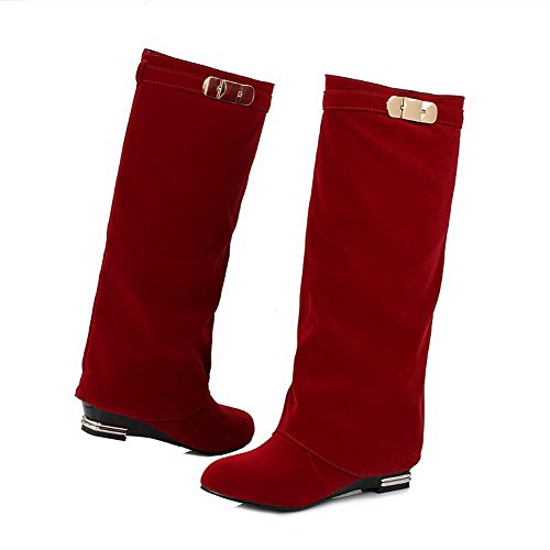 on Solid Low Closed Boots Women's Round High Pull Heels top Allhqfashion Red Toe SZtqXn