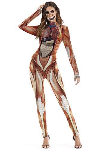 Obtai Women Viscera Blood Print Bodysuit Catsuit Jumpsuit Halloween Skull Skeleton Skin Tights Costume (Small/Medium)