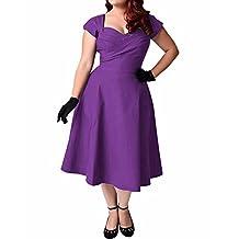BIUBIU Women's Plus Size Elegant Ruched V Neck Bodycon Swing Midi Dress XL-6XL