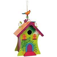 """Vogelhaus """"Hawaii"""" aus bunt lackiertem Holz, stabil und wetterfest, schöne Gartendekoration mit farbenfrohen Metallelementen auf dem First, Acrylperle an der Aufhängeschnur und kleiner Öffnung mit schwenkbarem Verschluss zum Beobachten der Vögel"""