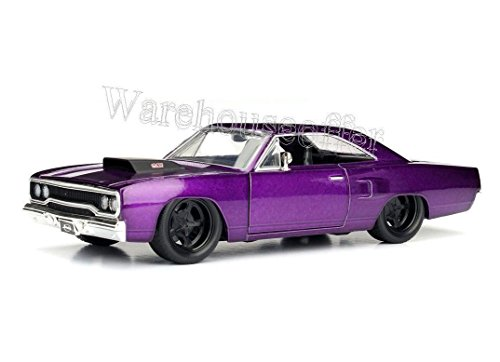 NEW 1:24 DISPLAY JADA TOYS BIG TIME MUSCLE - PURPLE 1970 PLYMOUTH ROAD RUNNER Diecast Model Car By Jada Toys (WITHOUT RETAIL BOX)