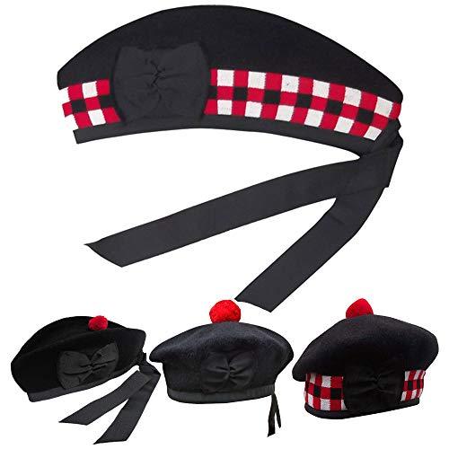 (AAR New Glengarry Diced Black Wool Scottish Bagpipe/Kilt Hat Size 7 1/4 - (UK 58))