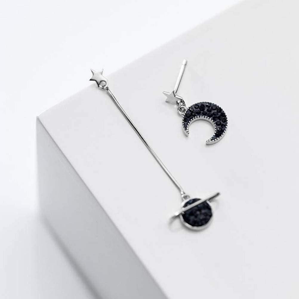 S&RL S925 Pendientes de Plata Universo Coreano Black Diamond para Mujer Planeta Luna Y Las Estrellas Pendientes Largos Asimétricos Joyasplata, Plata 925