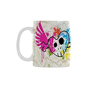 Colorful Heart Skull Personalized Funny Healthy Ceramic Classical White Mug, Coffee,Water,Tea Cup for Women/Men