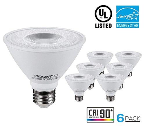 Neck Short Flood (TORCHSTAR 6 PACK PAR30 Short Neck LED Flood Light Bulb, Dimmable, 12W 75W Equiv, High CRI90+, 3000K Warm White, 840Lm, E26 Medium Screw Base, Energy Star & UL Listed LED Spotlight, 3 YEARS WARRANTY)