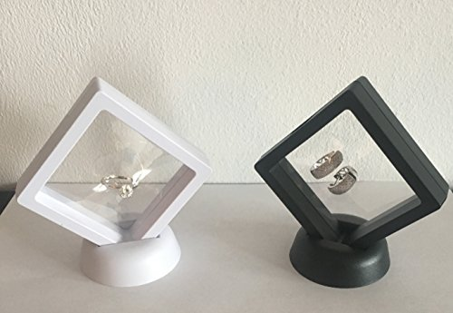 splays Floating Frame, Display Case, Shadow Box, Excellent for Jewelry, Shells, Stones, Coin Display Box, Flowers collected (Set Small, Black-White) ()