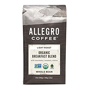 Allegro Coffee Organic Breakfast Blend Whole Bean Coffee, 12 oz