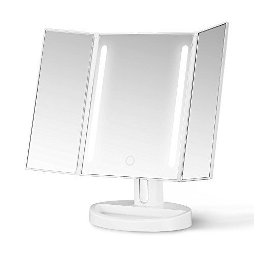 Gotofine LED Lighted Makeup Mirror, Tri-Fold Natural Bright Light Vanity Mirror With adjustable 3.5 Inches 10X Magnification Spot Mirror, Wide View / Movable / Two Power Supply Mode