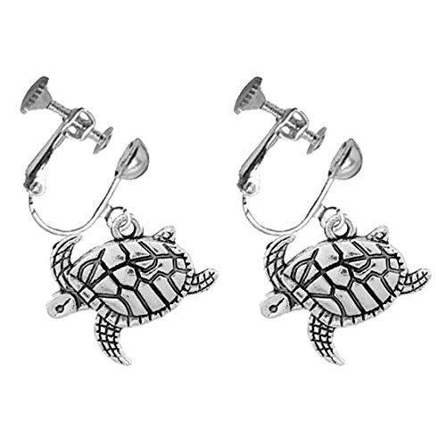 Cute Turtle Vintage Clip on Dangle Earrings Screw Back Tortoise Drop Antique Silver for Kids Girls Women