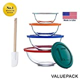 Pyrex Smart Essentials 8-Piece Mixing Bowl Set With Free Bakers Secret Spatula (Bundle) by World Kitchen