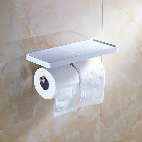 Beelee BA8801 Toilet Paper Holder with Shelf - White Double Paper Holder, Bathroom Cell Mobile Phone Holder Shelf, Wall Mounted design best for Bathroom](Danbury Toilet Paper Holder)