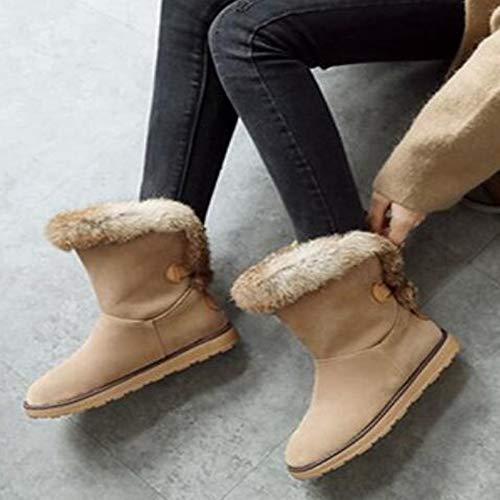 Stivali Stivali Stivali Moda Casual Cotone Caldo Stivali Dimensioni Dimensioni Dimensioni Di Tubo Beige KUKI Stivali Neve Donna Stivali Grandi Stivali Basso Inverno 1FwUwIqx