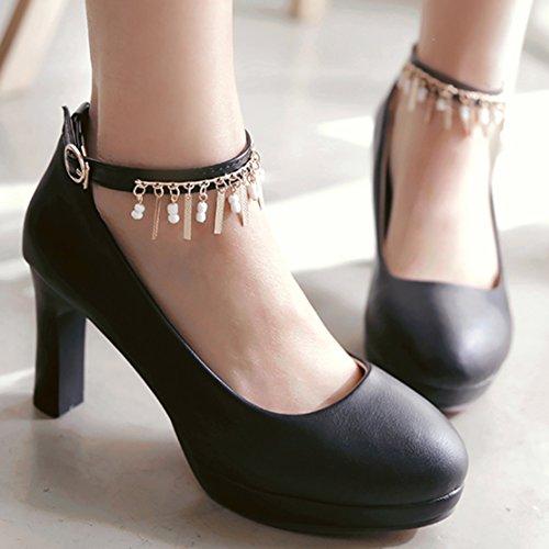 AIYOUMEI Damen Geschlossen knöchelriemchen Plateau Pumps mit 8cm Absatz Blockabsatz Elegant Schuhe Schwarz
