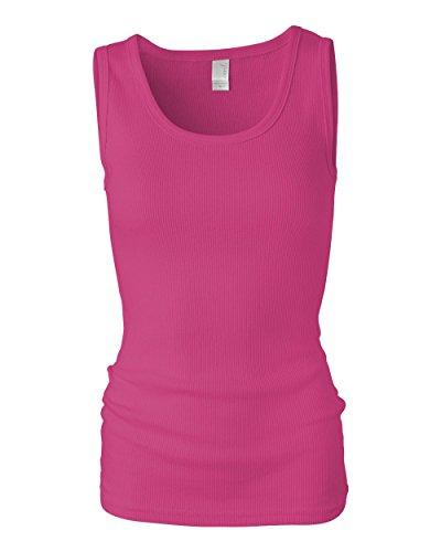 Anvil Women's slim fit 2x1 Rib Tank Top - Azalea - X-Large Anvil Ladies 1x1 Rib Tank