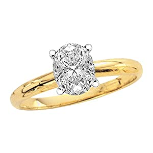 GIA Certified 1 ct. I - VS2 Oval Cut Diamond Solitaire Engagement Ring in 14K Yellow Gold Size-4.5