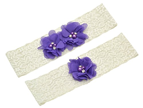 Wishprom Ivory Lace Wedding Garter Purple Chiffon Flower Vintage Toss Gart (S / 17-18 Inches) (Garter Vintage Inspired Wedding)