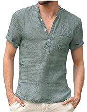 DressU Men Linen Pure Color Shirts Short Sleeve Stand up Collar Tees Top