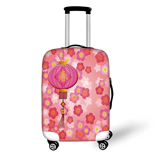 Travel Luggage Cover Suitcase Protector,Lantern,Chinese New Year Theme Cherry Blossom Auspicious Festive Celebration Print,Light Pink Yellow,for Travel (Rockford Cherry)