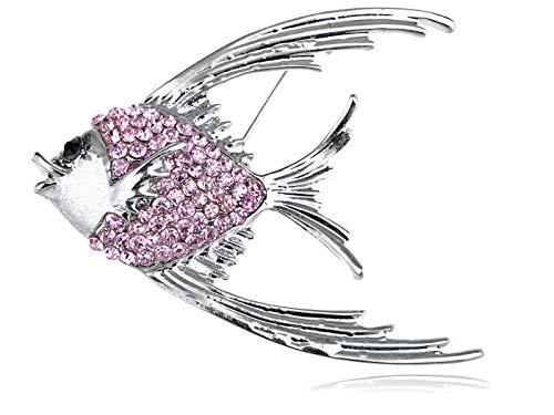 - Womens Silver Tone Light Pink Rhinestones Tropical Angel Fish Brooch Pin