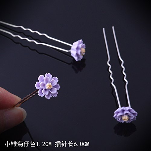 The new small daisy flowers braided hair pin hair fork hair accessories hairpin hairpin headdress bride dish hair-clip accessories for women girl lady (Daisy Fork)