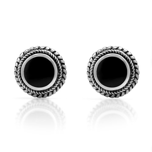 Black Onyx Gem Studs (925 Sterling Silver Bali Inspired Tiny Black Onyx Gemstone Braided Round 9 mm Post Stud)