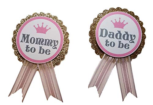 Daddy to Be Pin Princess Mommy to Be Baby Shower dad to wear at Baby Shower, Pink & Gold, It's a Girl, Baby Sprinkle