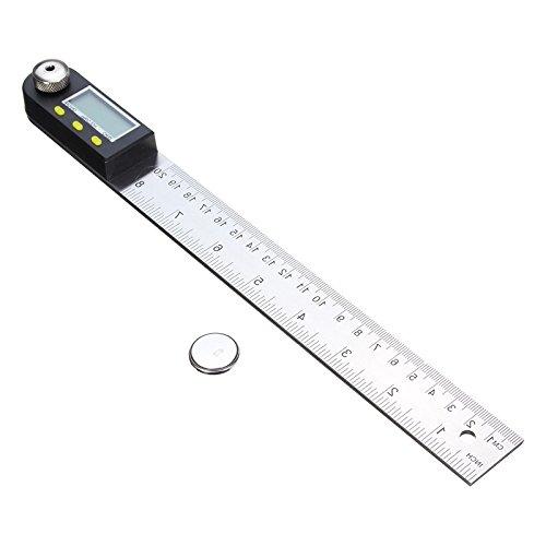 R/ègle dangle en acier inoxydable de 200 mm AUA R/ègle de mesure dangle Rapporteur num/érique de 7 pouces
