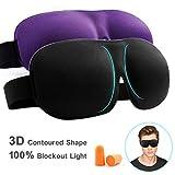 Eye Mask for Sleeping Sleep Mask 100% Blackout 3D Contoured Eye Cover with Adjustable Strap, Lightweight & Soft Blindfold for Travel, Shift & Meditation, Black & Purple