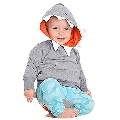 Tronet Kids Tops, Autumn Winter Baby Boys Girls Cartoon Shark Hooded Long Sleeves Tops (Gray, 120(Age:3-4Years))