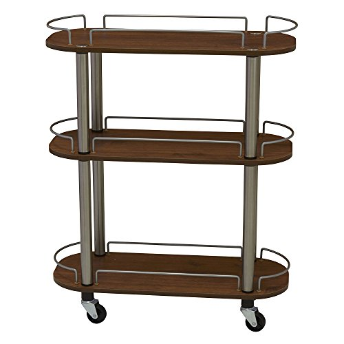 Household Essentials 7064-1 Chrome/Walnut 3-Shelf Multi-Purpose Utility Cart with Wheels