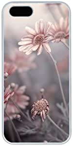 iPhone 5 5S Cases Hard Shell White Cover Skin Cases, iPhone 5 5S Case Flower Pink Daisies